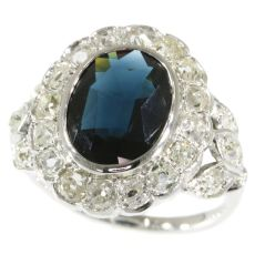 French Art Deco Belle Epoque engagement ring with diamonds and sapphire by Unknown Artist