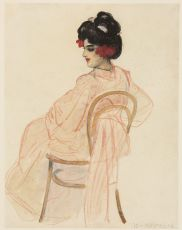 Seated woman in Kimono by Leo Gestel