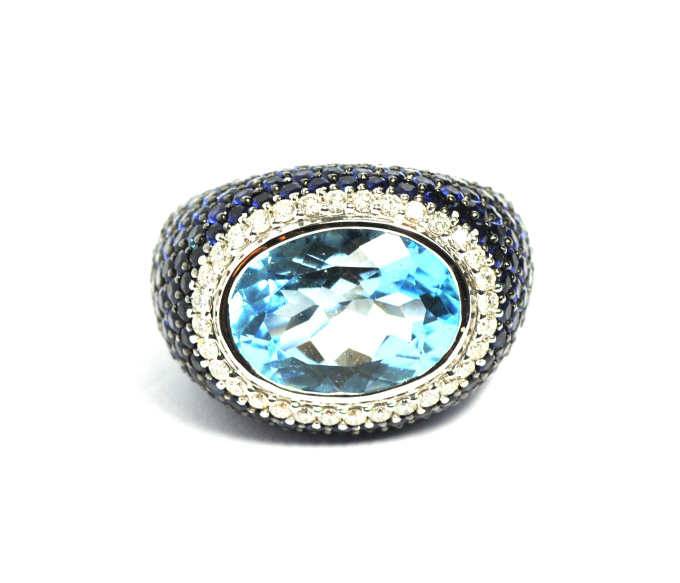 Blue topaz with blue sapphire and brilliant cut diamonds ring by Artur Scholl