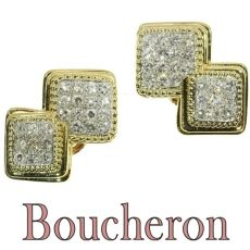 Signed Boucheron Paris estate diamond earclips gold and platinum by Boucheron