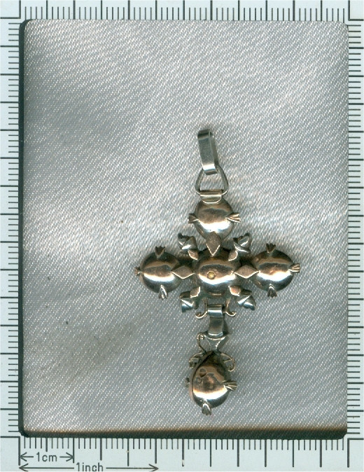 Early Victorian antique gold backed silver rose cut diamonds cross by Unknown Artist