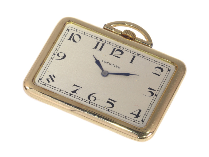 Rare vintage Art Deco rectangular 18K gold Longines pocket watch with matching fob by Unknown Artist