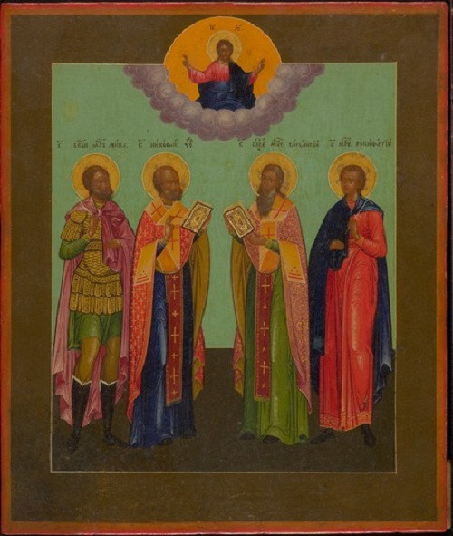 Russian icon with four chosen saints by Unknown Artist