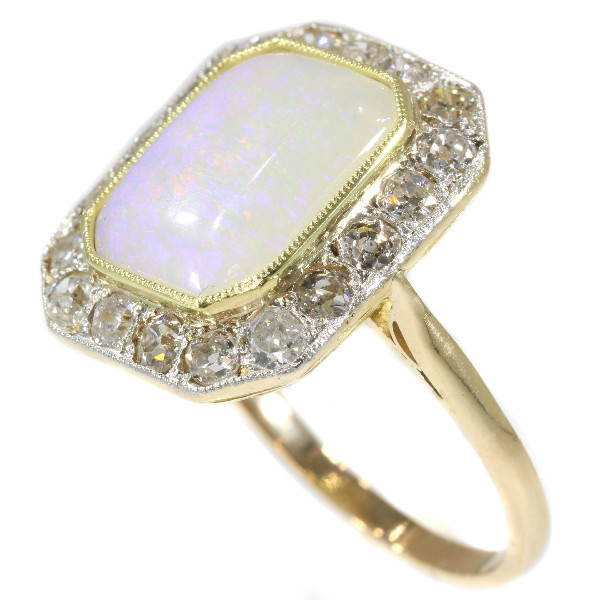 Vintage Art Deco diamond and opal engagement ring by Unknown Artist