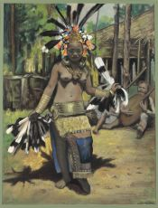 Young girl performing the hornbill dance by Ernst Agerbeek