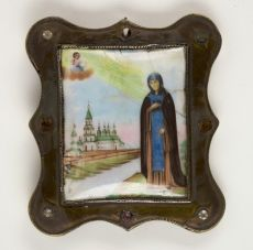 Antique Russian enamelled pilgrims icon by Unknown Artist