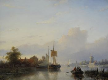A river landscape with sailing vessels and a rowing boat by Jan Jacob Spohler
