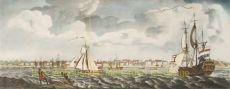 GEZICHT DE WATERKANT PARAMARIBO, NEDERLANDSE EN ENGELSE SCHEPEN ONDER ZEIL  by Stedman, John Gabrial