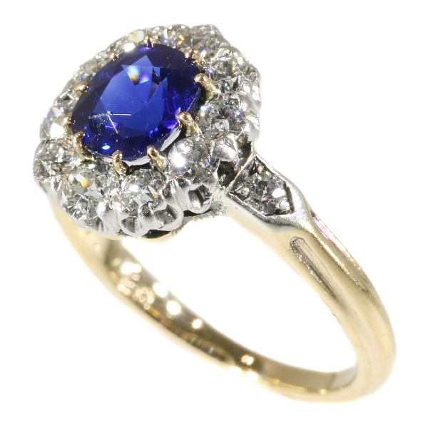 Late Victorian diamond engagment ring with beautiful Burma sapphire by Unknown