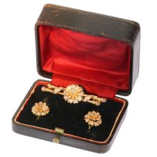 Antique gold parure - earrings and brooch in original jewelers box by Unknown Artist