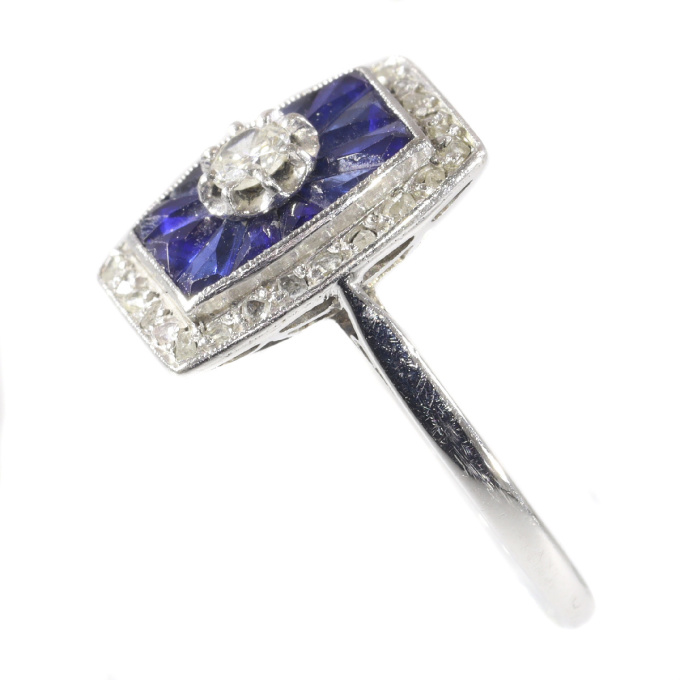 French Art Deco Vintage diamond and sapphire engagement ring by Unknown Artist