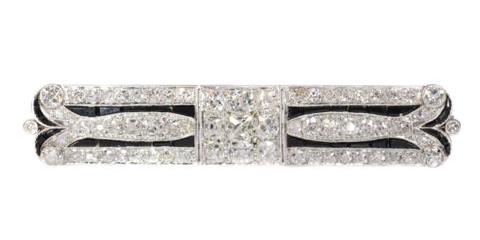 Diamond Loaded Strong Stylish Platinum Art Deco Brooch with over 7 crts diamonds by Unknown Artist