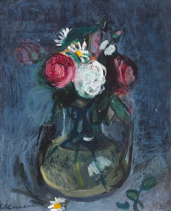 Flower still life in a glass vase by Charles Camoin