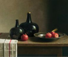 Still life with Pomegrenates on a Pewter Plate