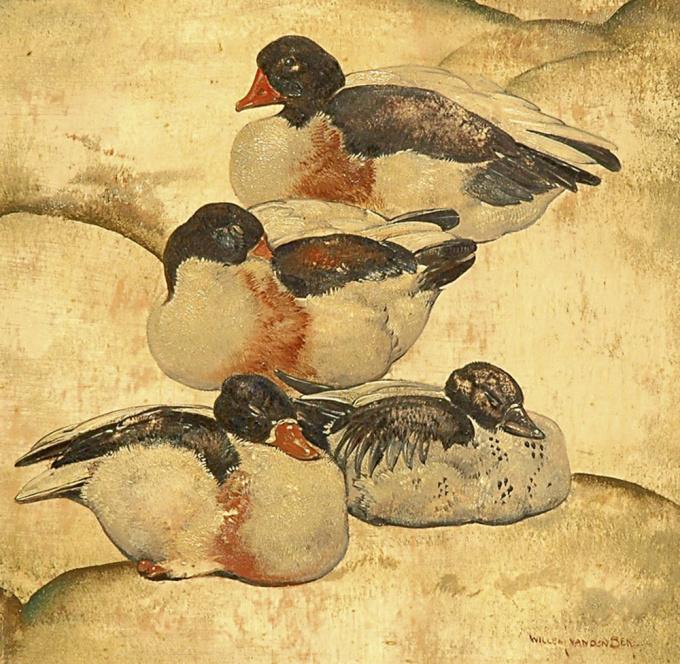 Four ducks by Willem van den Berg