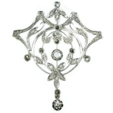 Antique Belle Epoque diamond brooch pendant by Unknown Artist