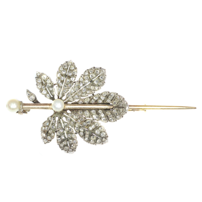 French Antique Victorian brooch chestnut leaf completely diamond covered by Unknown Artist