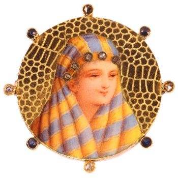 Typical late 19th cent. gold enameled brooch with bedouin woman by Unknown Artist
