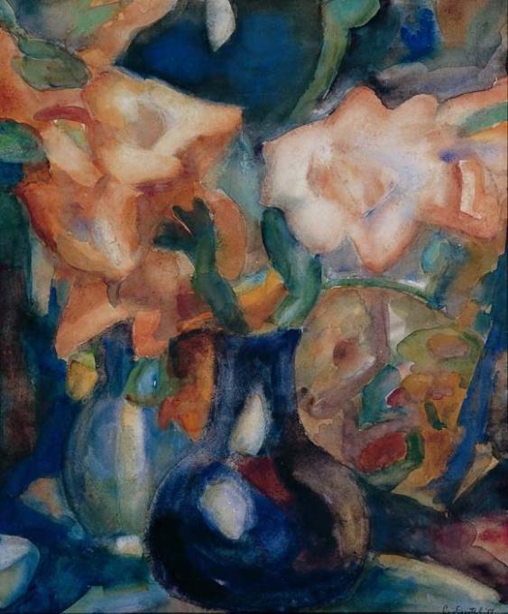 A flower still life by Leo Gestel