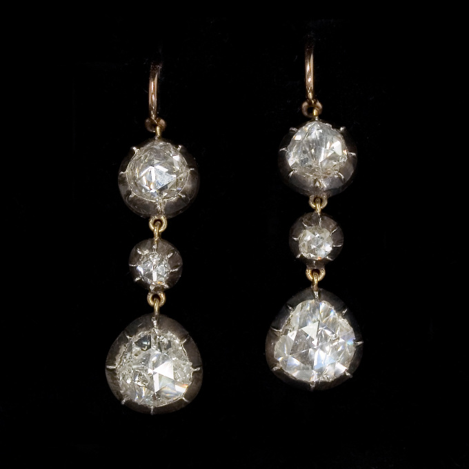 Rose cut diamond ear pendants by Unknown Artist