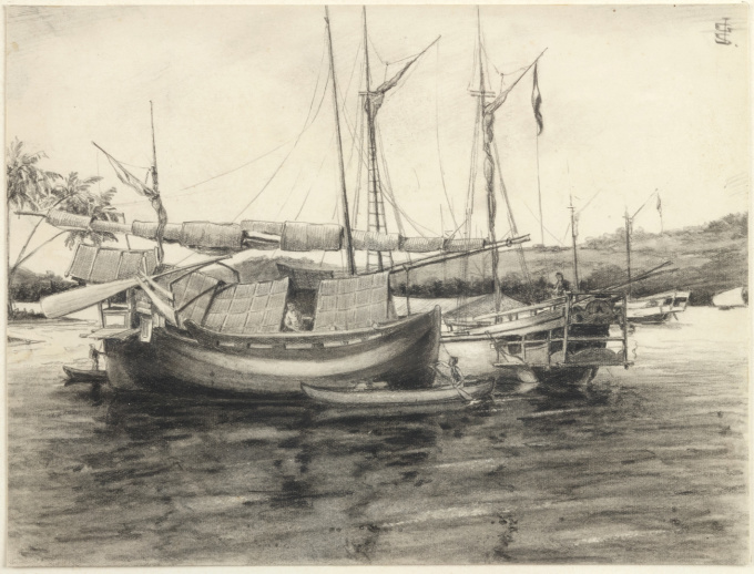 A COLLECTION OF THIRTEEN INK AND CHALK DRAWINGS OF Indonesia by JOHAN GERARD SINIA