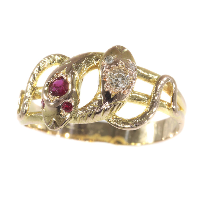 Late Victorian gold snake serpent ring set with diamonds and rubies by Unknown