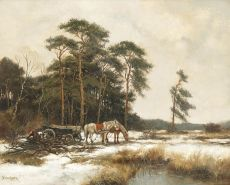 Snow landscape with horse and carriage by Theodorus Johannes (Dorus) Arts