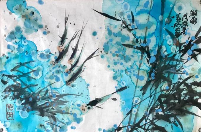 Carps in Blue by Wanqi Zhang