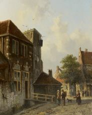 Dutch town view by Adrianus Eversen