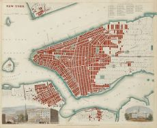 """""""New York"""", steel engraving published by the SDUK (Society for the Diffusion of Useful Knowledge)."""