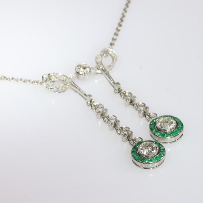 Elegant Belle Epoque diamond and emerald necklace by Unknown Artist