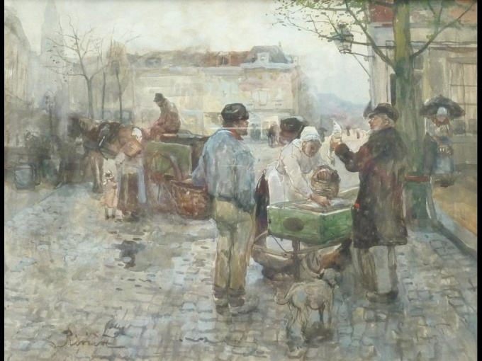 Selling Fish by Adriaan la Riviere