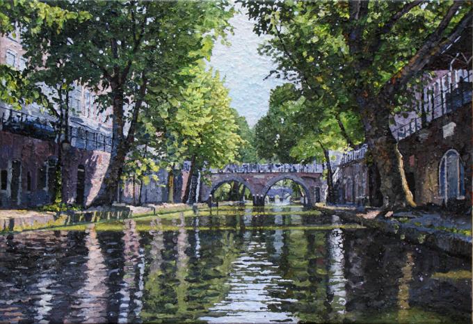 Oudegracht met Hamburgerbrug  by Willem van der Hofstede