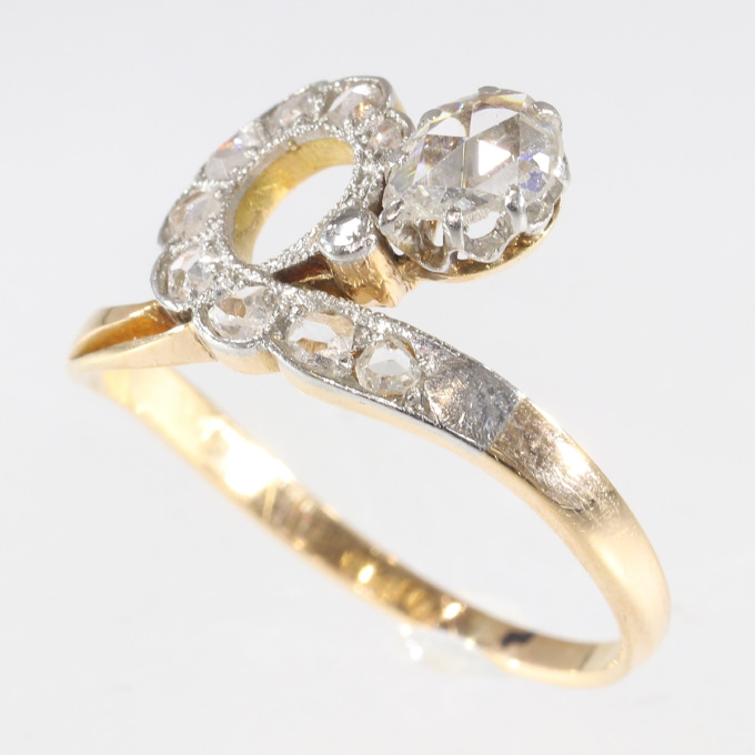 Antique diamond engagement asymmetric with pear shaped rose cut diamond by Unknown