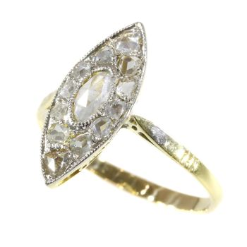 Vintage Art Deco navette or boat shaped ring with rose cut diamonds by Unknown Artist