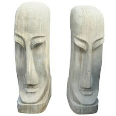 Two Large Sandstone Heads, Dutch by Bernard Richters