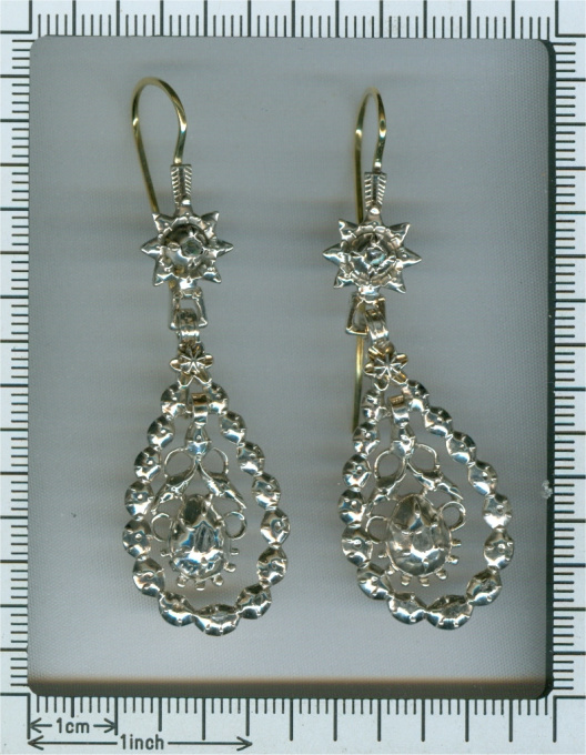 Antique Flemish diamond long pendent earrings late Georgian early Victorian period by Unknown Artist