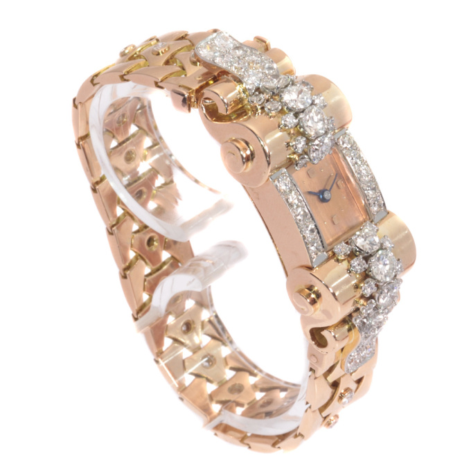 VCA Van Cleef and Arpels Vintage Retro gold diamond pink gold ladies watch by Van Cleef & Arpels