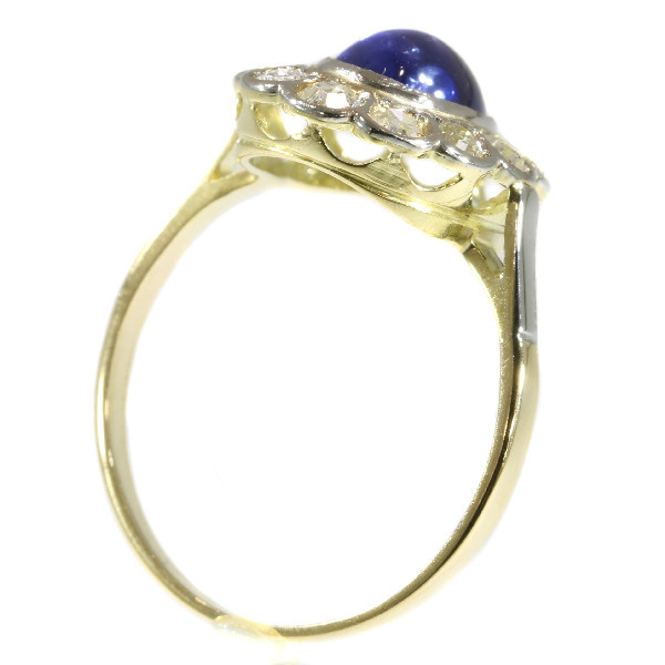 Vintage little Princess Di ring with diamonds and cabochon natural sapphire by Unknown