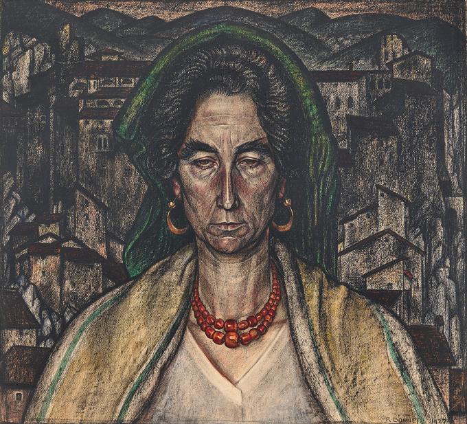 Portraint of an Italian woman by Johan Rudolf Bonnet
