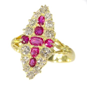 Antique Victorian gold ring set with old brilliant cut diamonds and rubies sold by Simons Jewellers The Hague & Amsterdam by Unknown Artist