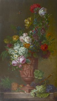 A still life with flowers and fruit by Willem van Leen