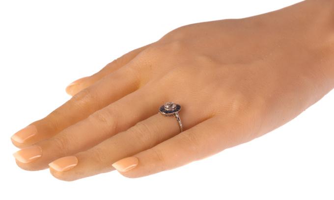 Vintage Art Deco platinum diamond sapphire engagement ring by Unknown Artist