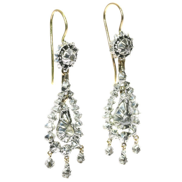 Victorian long pendent rose cut diamond earrings by Unknown