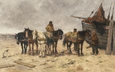 Fishermen with horses on the beach