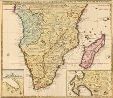 Carte de l'Afrique Meridionale ou pays entre la Ligne & Le Cap de Bonne Esperance et l'Isle de Madagascar copper engraving  by Leth, Hendrick de