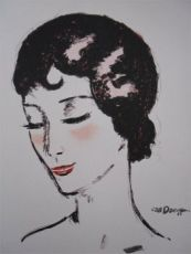 Girl with closed eyes by Kees van Dongen