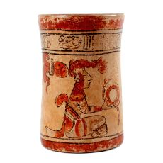Central American Mayan polychrome cylindrical vessel by Unknown Artist