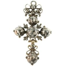 Antique cross pendant knot diamonds French regional Normandy by Unknown
