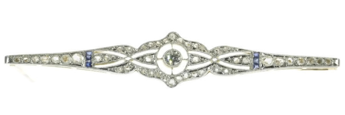 Art Deco diamond and sapphire bar brooch by Unknown Artist